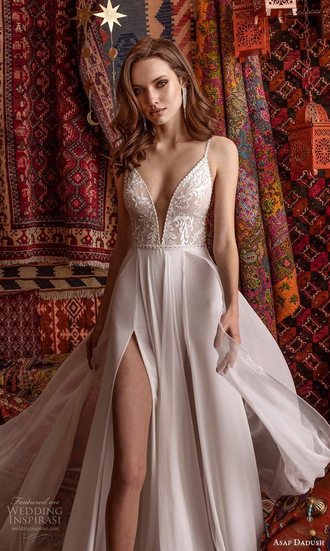 asaf dadush 2021 bridal sleeveless straps plunging v neckline embellished bodice clean skirt a line wedding dress slit skirt chapel train (5) zv