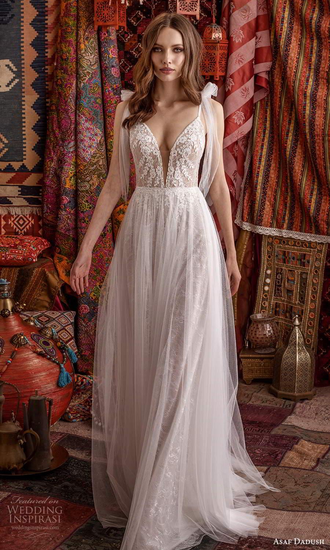 asaf dadush 2021 bridal sleeveless straps plunging v neckline embellished lace a line ball gown wedding dress sheer overskirt (9) mv