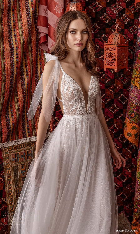 asaf dadush 2021 bridal sleeveless straps plunging v neckline embellished lace a line ball gown wedding dress sheer overskirt (9) zv