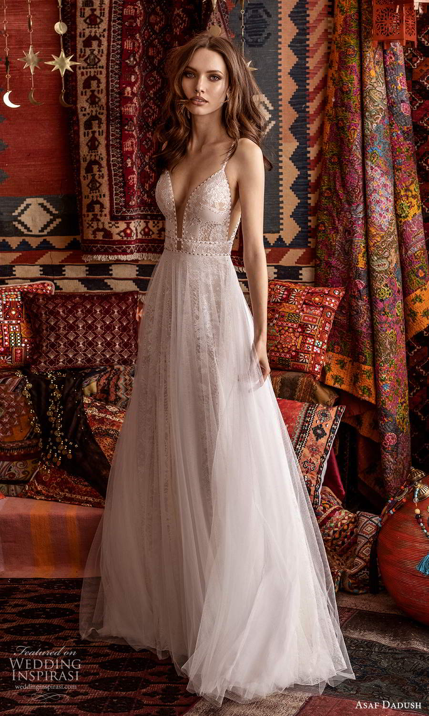 asaf dadush 2021 bridal sleeveless straps plunging v neckline fully embellished lace a line ball gown wedding dress (14) mv
