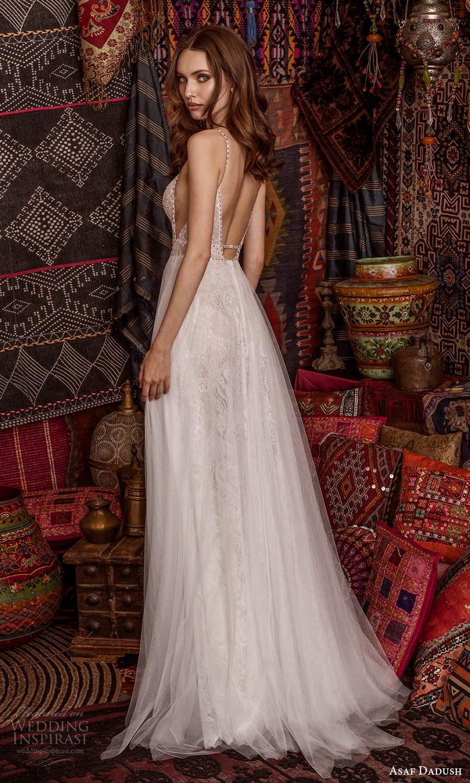asaf dadush 2021 bridal sleeveless straps plunging v neckline fully embellished lace a line ball gown wedding dress low back (14) bv