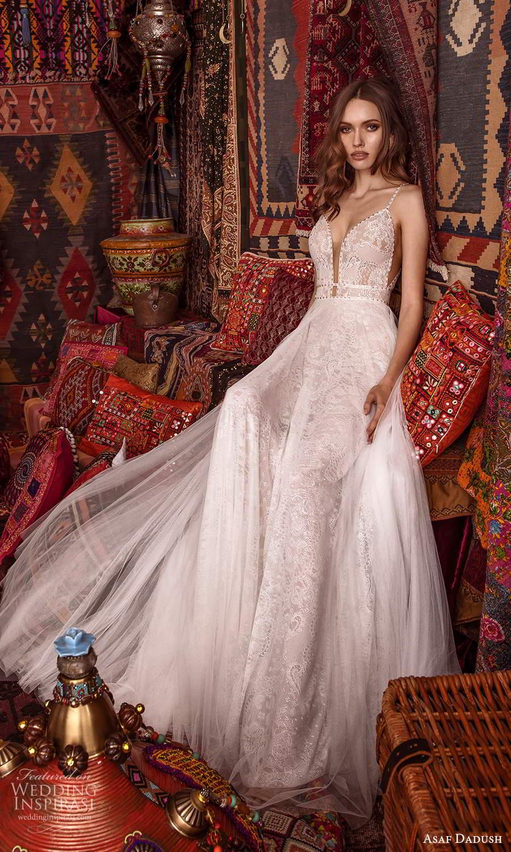 asaf dadush 2021 bridal sleeveless straps plunging v neckline fully embellished lace a line ball gown wedding dress low back (14) fv