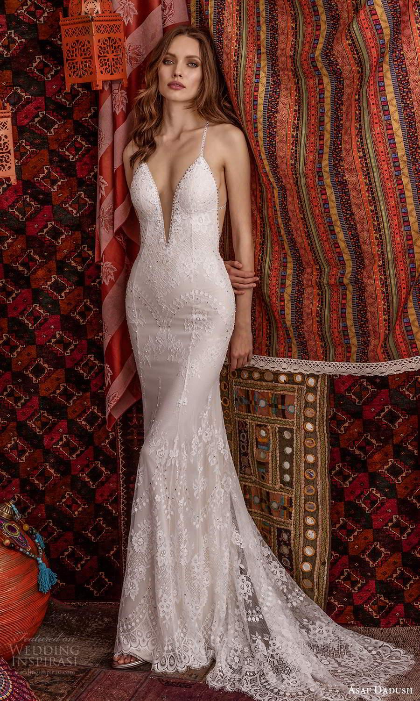 asaf dadush 2021 bridal sleeveless straps plunging v neckline sheath wedding dress chapel train (1) mv