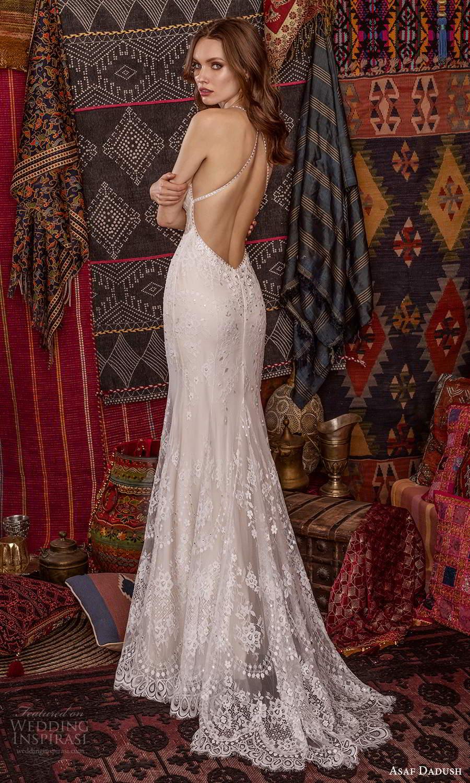 asaf dadush 2021 bridal sleeveless straps plunging v neckline sheath wedding dress chapel train open back (1) bv