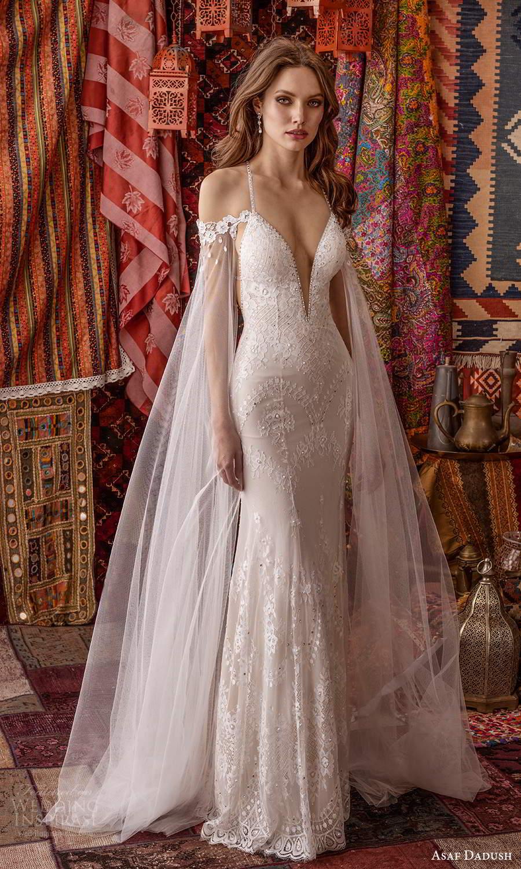 asaf dadush 2021 bridal sleeveless straps plunging v neckline sheer cape sheath wedding dress chapel train (1) mv