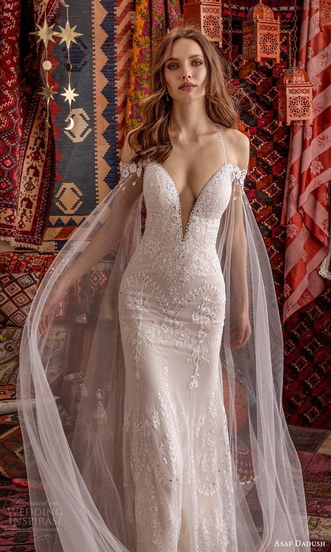 asaf dadush 2021 bridal sleeveless straps plunging v neckline sheer cape sheath wedding dress chapel train (1) zv