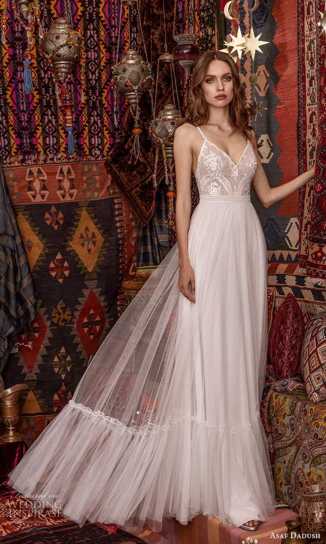 asaf dadush 2021 bridal sleeveless straps v neckline embellished bodice a line ball gown wedding dress (11) mv