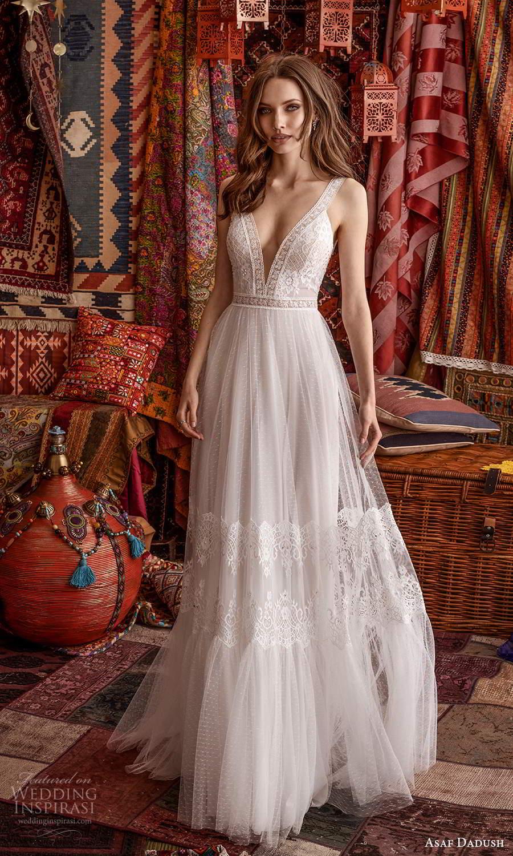asaf dadush 2021 bridal sleeveless thick straps plunging v neckline embellished lace a line ball gown wedding dress (7) mv