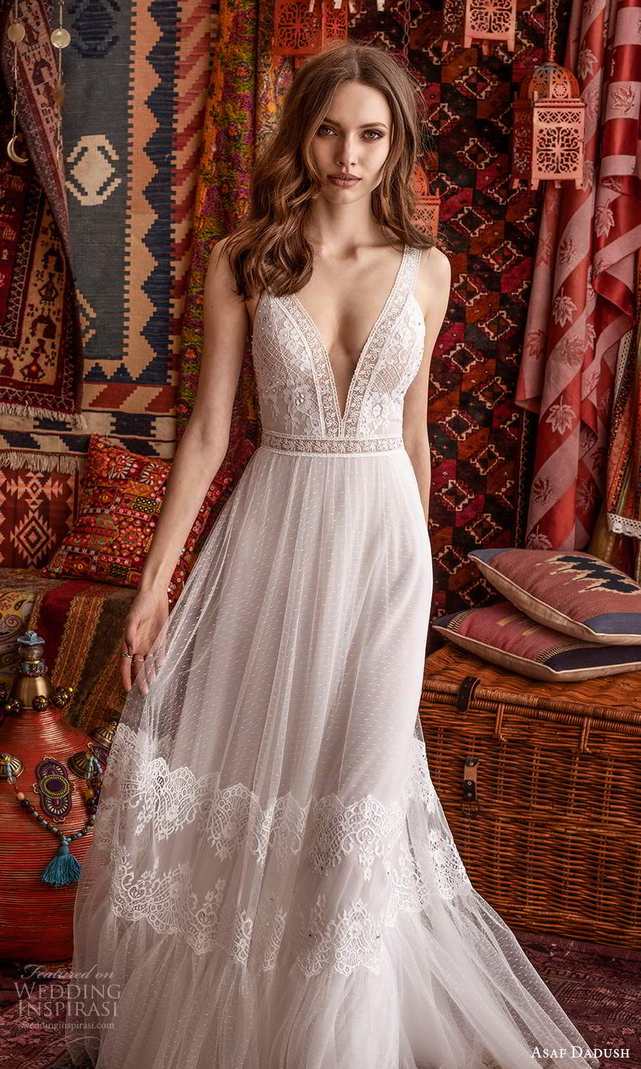 asaf dadush 2021 bridal sleeveless thick straps plunging v neckline embellished lace a line ball gown wedding dress (7) zv
