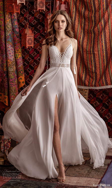 asaf dadush 2021 bridal sleeveless thin tie straps plunging v neckline embellished lace bodice clean slit skirt a line wedding dress chapel train (10) mv