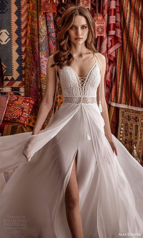 asaf dadush 2021 bridal sleeveless thin tie straps plunging v neckline embellished lace bodice clean slit skirt a line wedding dress chapel train (10) zv
