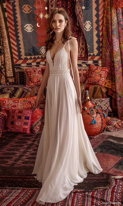 asaf dadush 2021 bridal sleeveless tie straps plunging v neckline embellished lace bodice clean skirt a line wedding dress open back (8) mv