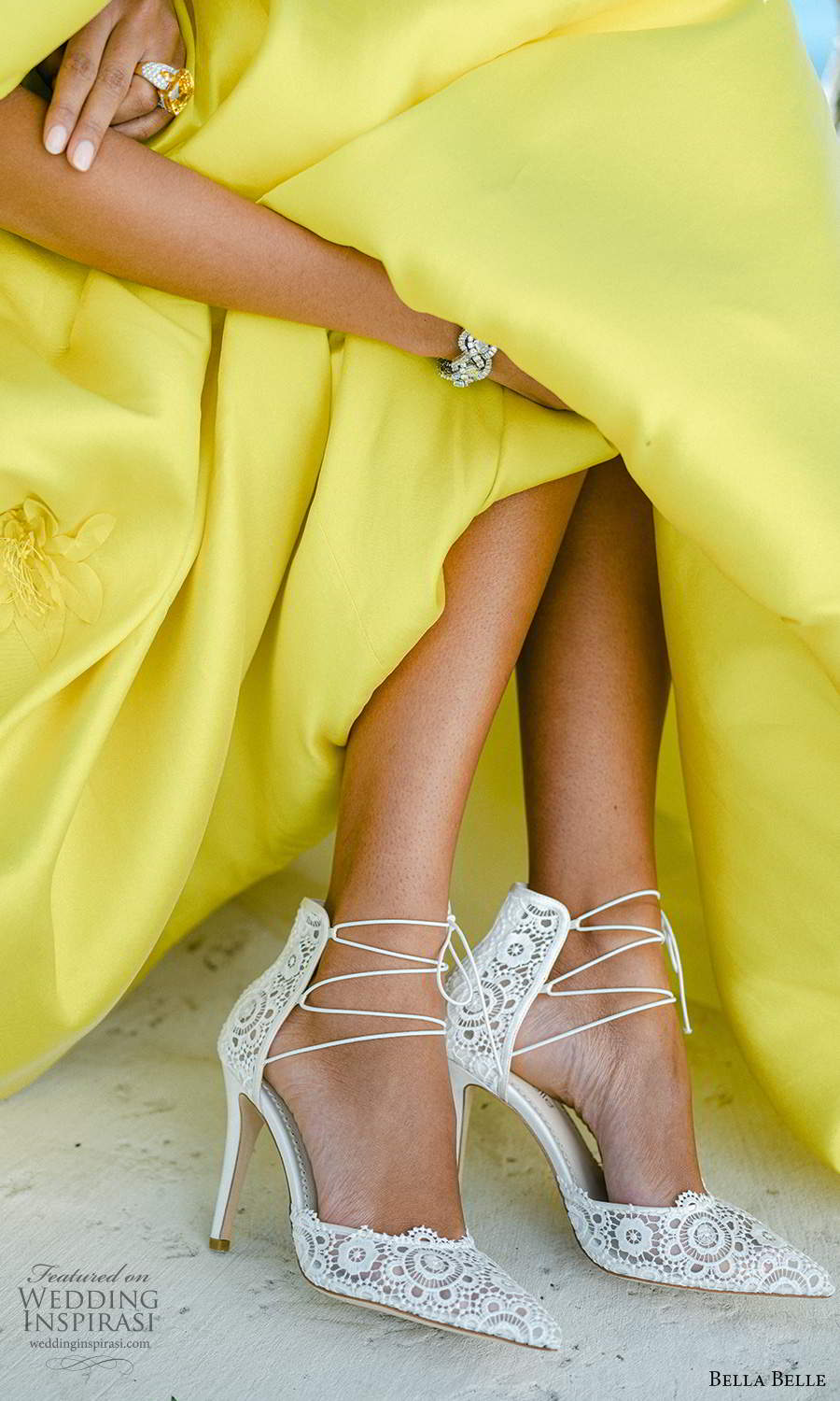 bella belle spring 2021 bridal shoes lime yellow gown ankle straps pointy toe high heel shoes (6) zv