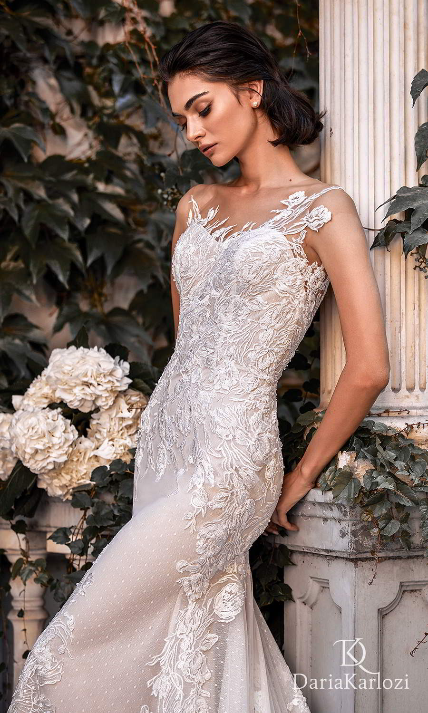 daria karlozi 2021 graceful dream bridal asymmetric cap sleeves semi sweetheart neckline fully embellished sheath wedding dress chapel train scoop back (sunset) zv