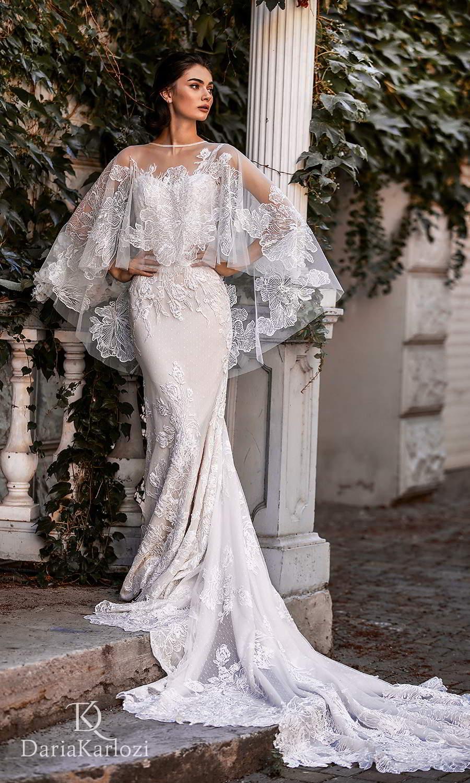 daria karlozi 2021 graceful dream bridal asymmetric cap sleeves semi sweetheart neckline fully embellished sheath wedding dress chapel train sheer lace cape (sunset) mv