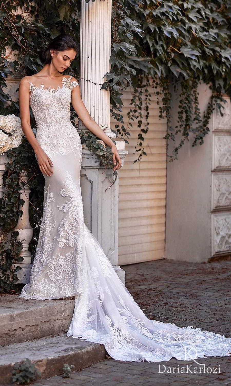 daria karlozi 2021 graceful dream bridal asymmetric cap sleeves semi sweetheart neckline fully embellished sheath wedding dress chapel train (sunset) mv