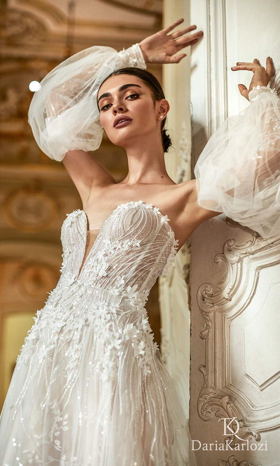 daria karlozi 2021 graceful dream bridal detached puff sleeves strapless sweetheart neckline fully embellished a line ball gown wedding dress (inspiration) zv