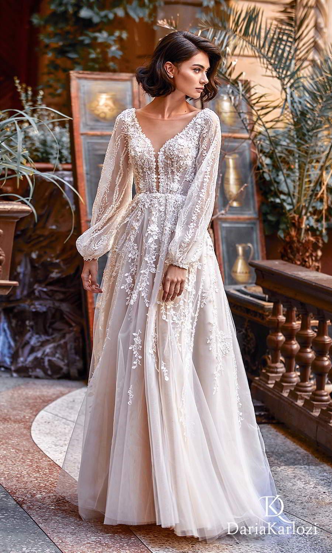daria karlozi 2021 graceful dream bridal long bishop sleeves v neckline fully embellished boho a line ball gown wedding dress chapel train (light kiss) mv
