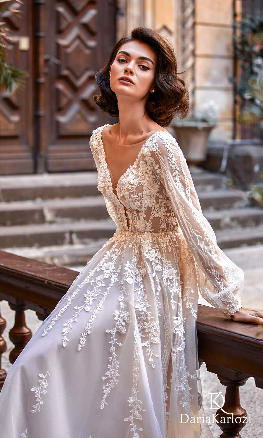 daria karlozi 2021 graceful dream bridal long bishop sleeves v neckline fully embellished boho a line ball gown wedding dress chapel train (light kiss) zv