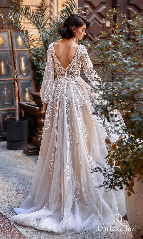 daria karlozi 2021 graceful dream bridal long bishop sleeves v neckline fully embellished boho a line ball gown wedding dress chapel train v back (light kiss) bv