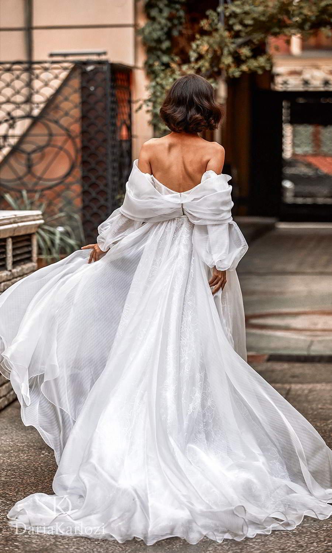 daria karlozi 2021 graceful dream bridal off shoulder bishop sleeves sweetheart neckline embellished button a line wedding dress slit skirt chapel train (sincerity) bv
