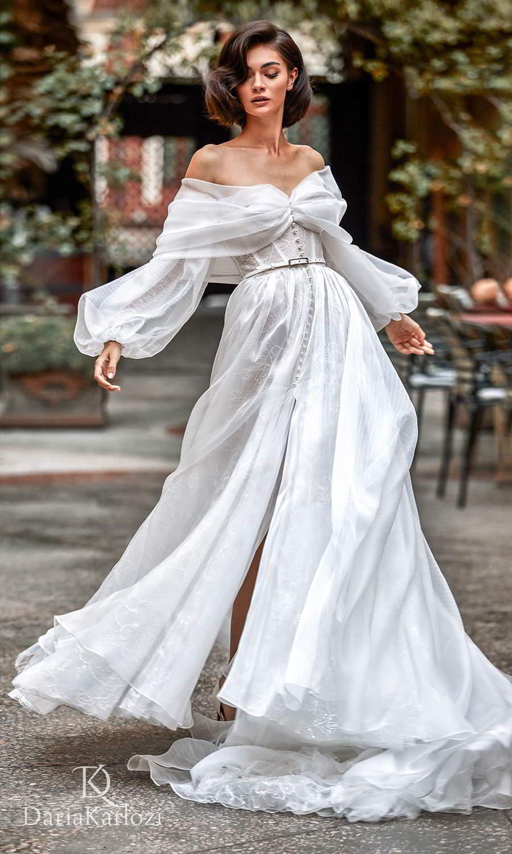 daria karlozi 2021 graceful dream bridal off shoulder bishop sleeves sweetheart neckline embellished button a line wedding dress slit skirt chapel train (sincerity) mv