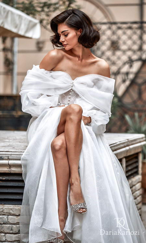 daria karlozi 2021 graceful dream bridal off shoulder bishop sleeves sweetheart neckline embellished button a line wedding dress slit skirt chapel train (sincerity) zv