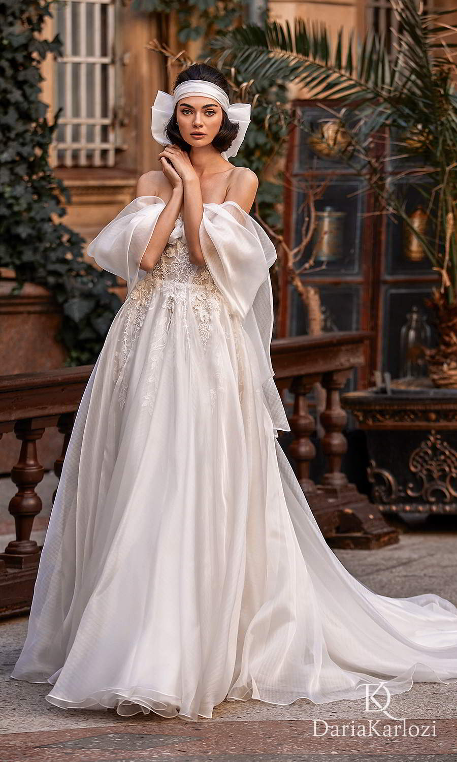 daria karlozi 2021 graceful dream bridal off shoulder drape sleeves sweetheart neckline embellished bodice a line ball gown wedding dress chapel train (gracious) mv