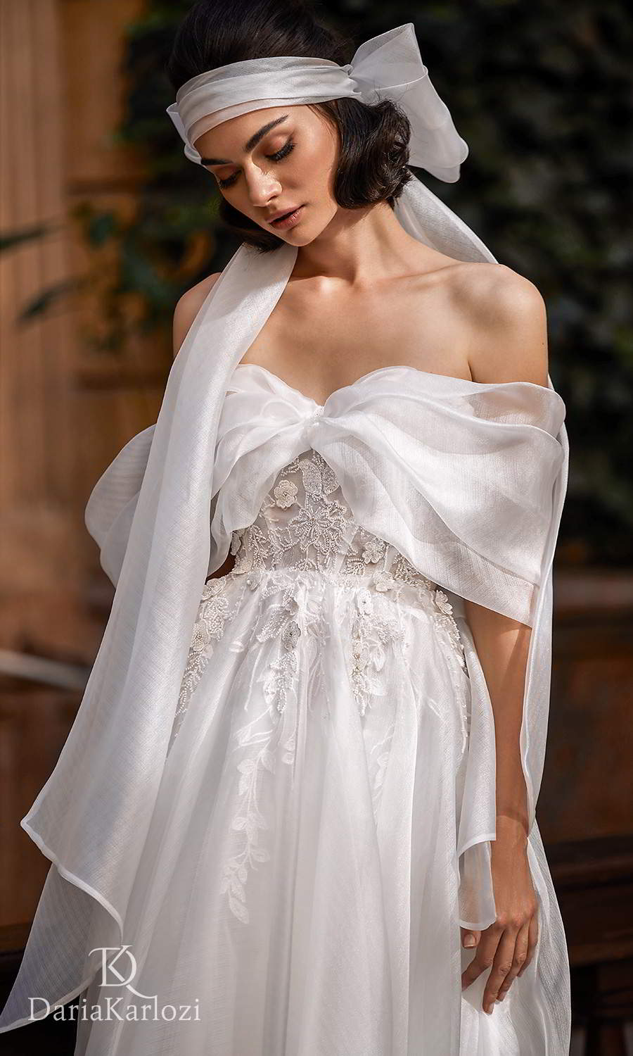 daria karlozi 2021 graceful dream bridal off shoulder drape sleeves sweetheart neckline embellished bodice a line ball gown wedding dress chapel train (gracious) zv