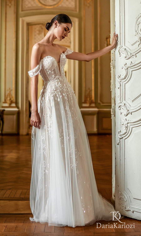 daria karlozi 2021 graceful dream bridal off shoulder straps sweetheart neckline fully embellished a line ball gown wedding dress (inspiration) mv
