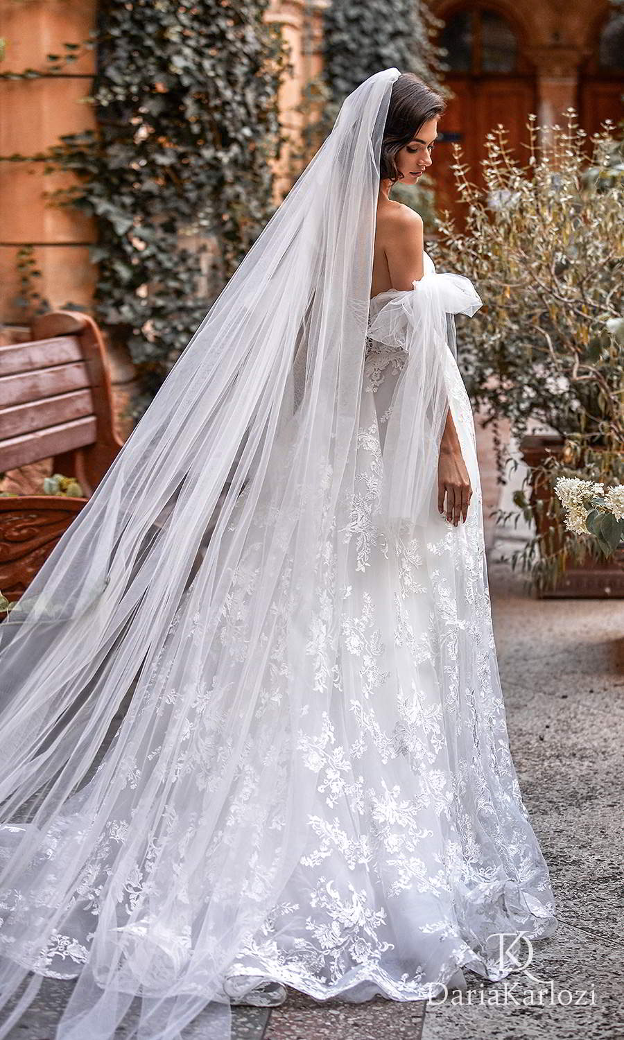 daria karlozi 2021 graceful dream bridal off shoulder straps sweetheart neckline ruched bodice lace skirt a line ball gown wedding dress chapel train (wings of love) bv