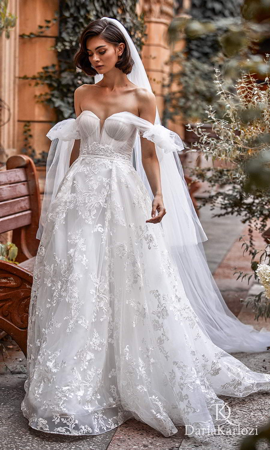 daria karlozi 2021 graceful dream bridal off shoulder straps sweetheart neckline ruched bodice lace skirt a line ball gown wedding dress chapel train (wings of love) mv