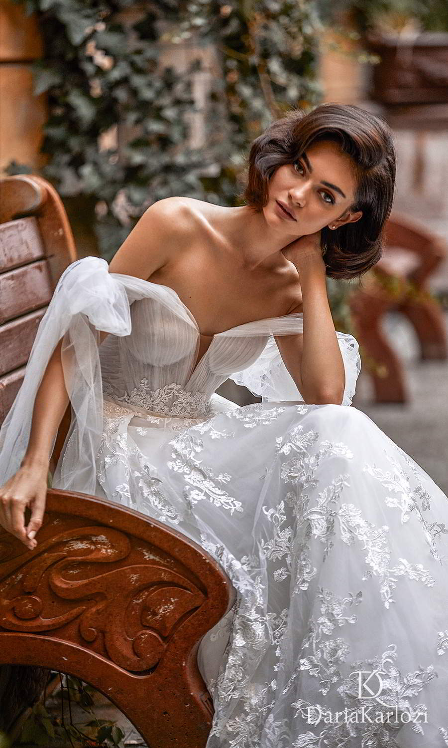 daria karlozi 2021 graceful dream bridal off shoulder straps sweetheart neckline ruched bodice lace skirt a line ball gown wedding dress chapel train (wings of love) zv