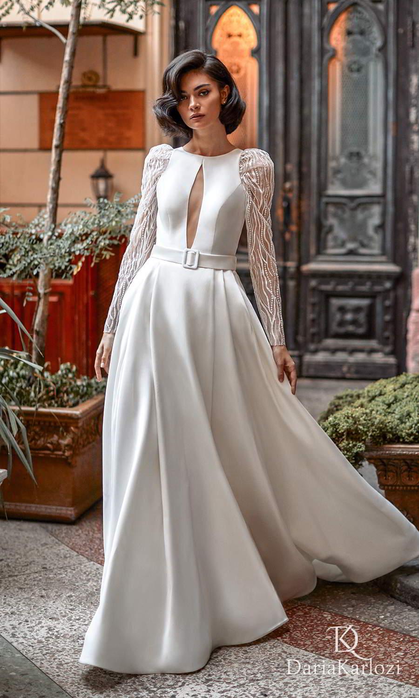 daria karlozi 2021 graceful dream bridal sheer long puff sleeve jewel neckline cutout bodice clean minimalist a line ball gown wedding dress chapel train (warm atmosphere) mv