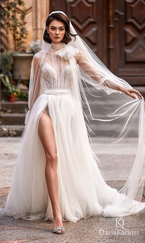 daria karlozi 2021 graceful dream bridal sheer long sleeves high neckline sleeveless bodysuit a line wedding dress chapel train (flight of dreams) mv
