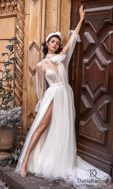 daria karlozi 2021 graceful dream bridal sheer long sleeves high neckline sleeveless bodysuit a line wedding dress chapel train slit skirt (flight of dreams) fv