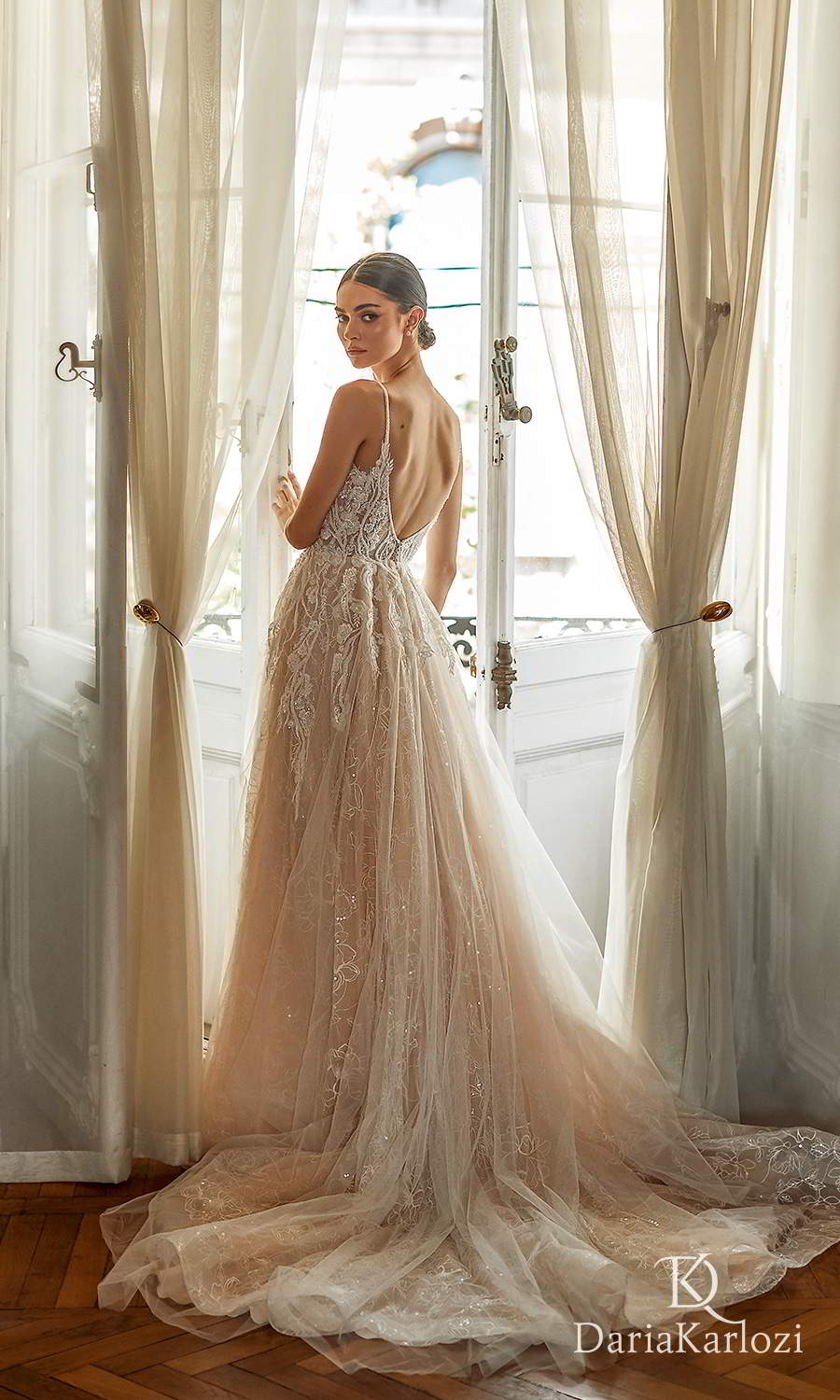 daria karlozi 2021 graceful dream bridal sleeveless beaded straps plunging v neckline embellished a line ball gown wedding dress chapel train (wind touch) bv