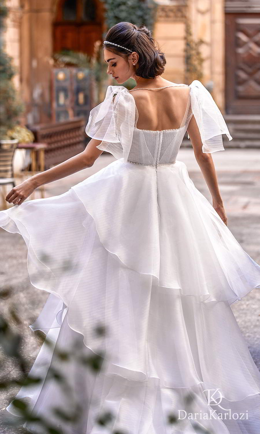daria karlozi 2021 graceful dream bridal sleeveless flutter sleeves straight across neckline embellished bodice a line ball gown wedding dress chapel train (touch of love) bv