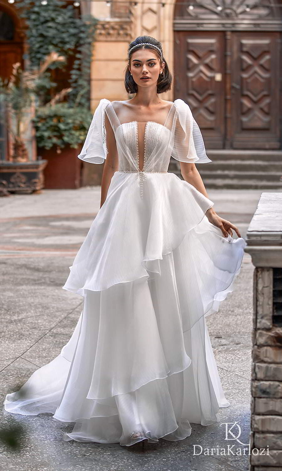 daria karlozi 2021 graceful dream bridal sleeveless flutter sleeves straight across neckline embellished bodice a line ball gown wedding dress chapel train (touch of love) mv