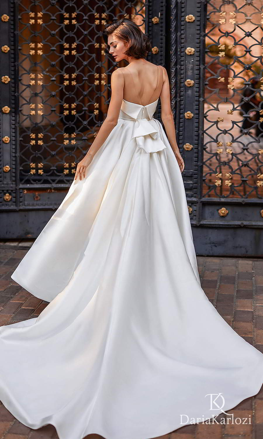 daria karlozi 2021 graceful dream bridal sleeveless illusion straight across neckline clean minimalist a line ball gown wedding dress cathedral train (light breeze) bv