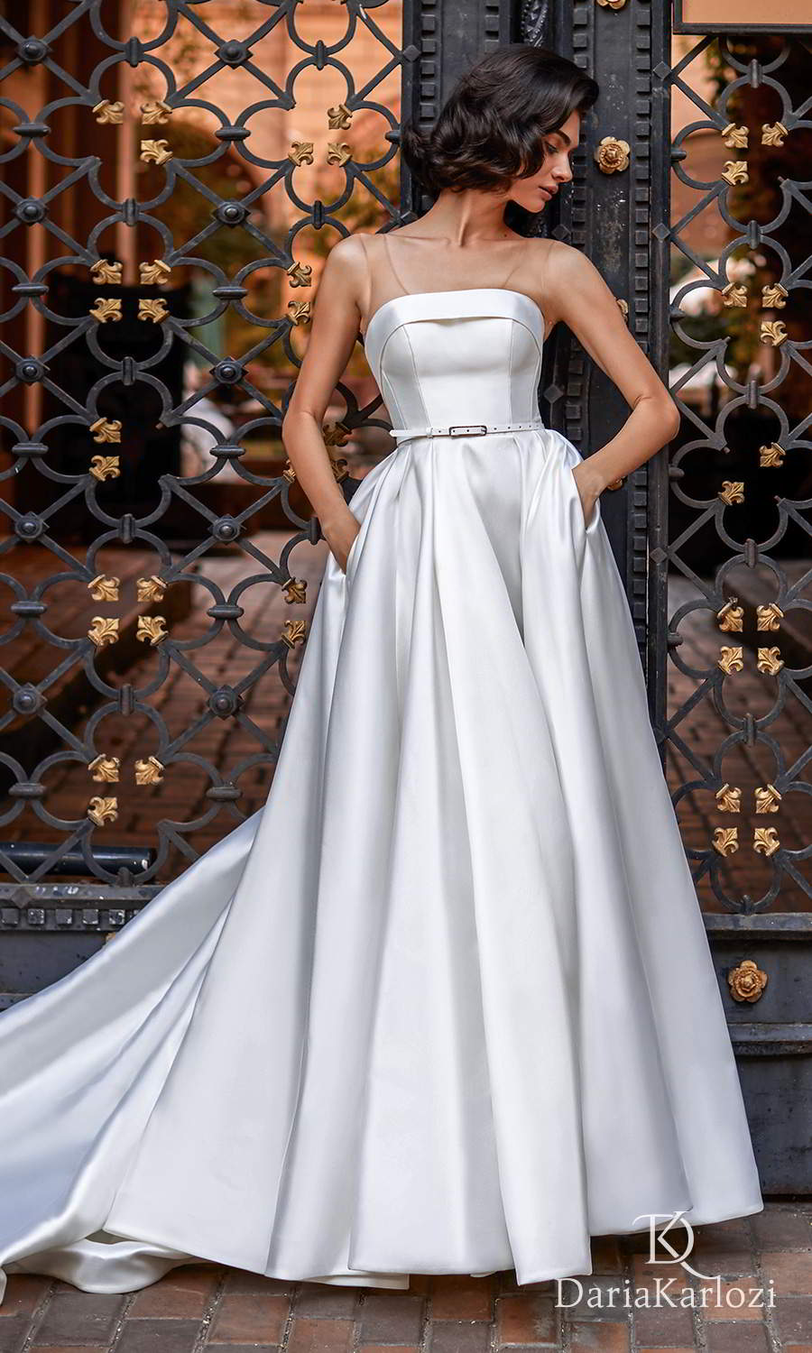 daria karlozi 2021 graceful dream bridal sleeveless illusion straight across neckline clean minimalist a line ball gown wedding dress cathedral train (light breeze) mv