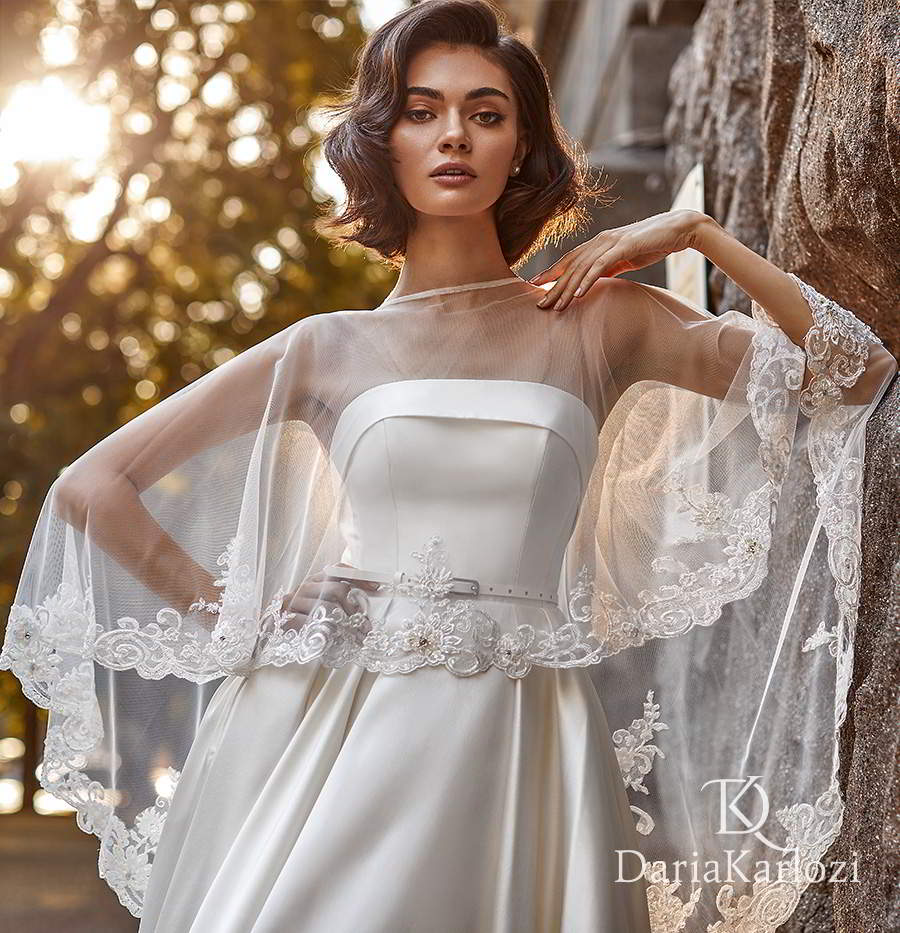 daria karlozi 2021 graceful dream bridal sleeveless illusion straight across neckline clean minimalist a line ball gown wedding dress cathedral train sheer cape (light breeze) zv