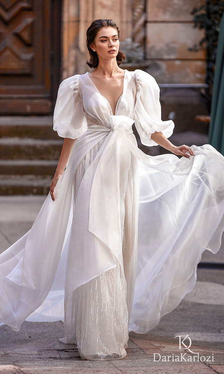 daria karlozi 2021 graceful dream bridal sleeveless illusion straps plunging sweetheart neckline fully embellished a line wedding dress puff sleeves coat (towards the love) mv