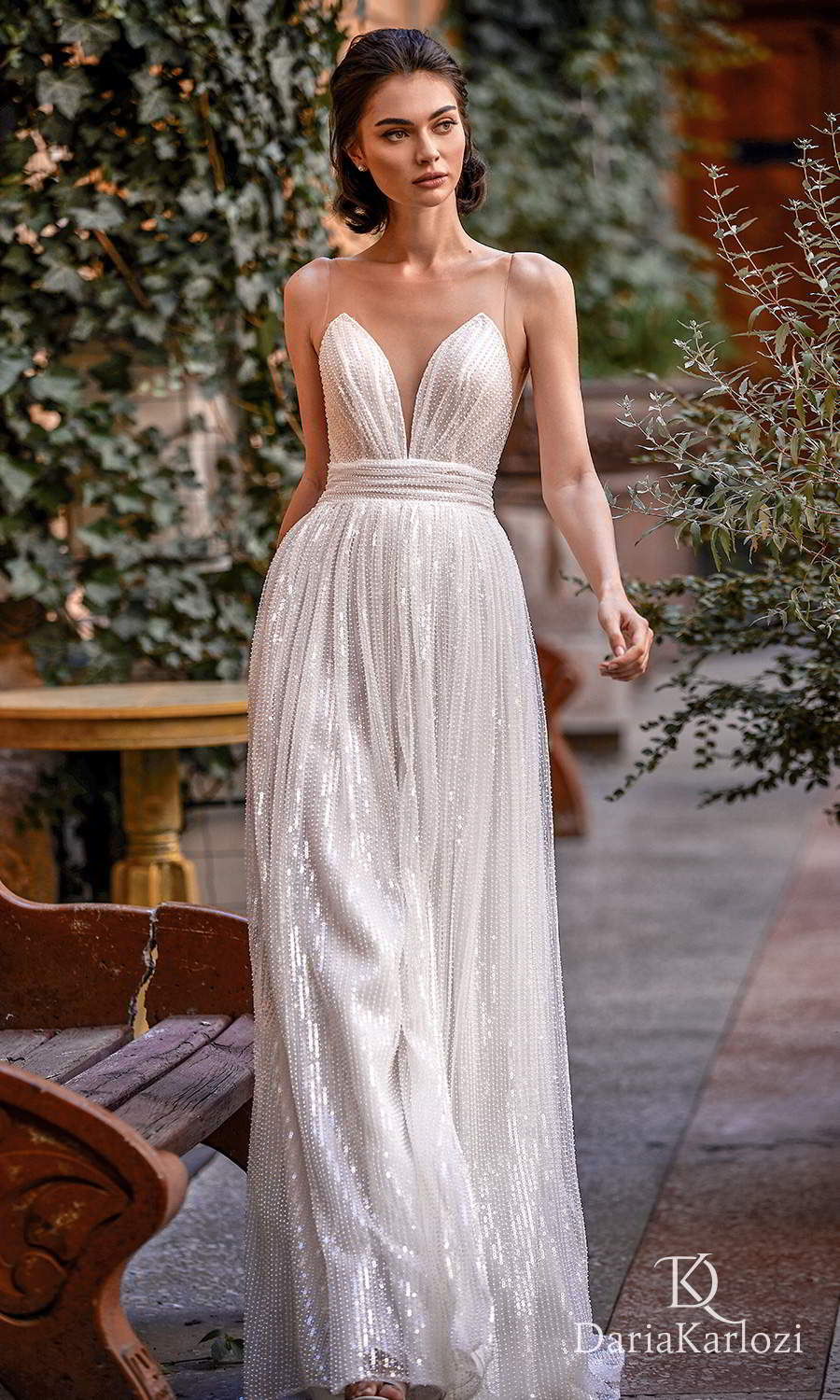 daria karlozi 2021 graceful dream bridal sleeveless illusion straps plunging sweetheart neckline fully embellished a line wedding dress (towards the love) mv