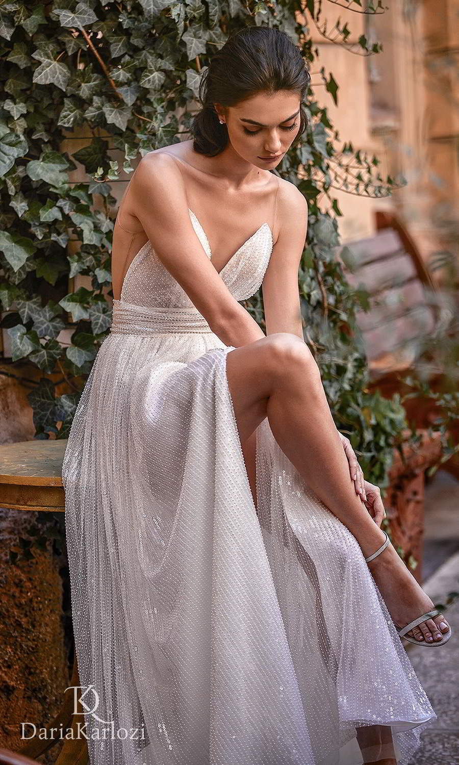 daria karlozi 2021 graceful dream bridal sleeveless illusion straps plunging sweetheart neckline fully embellished a line wedding dress (towards the love) zv