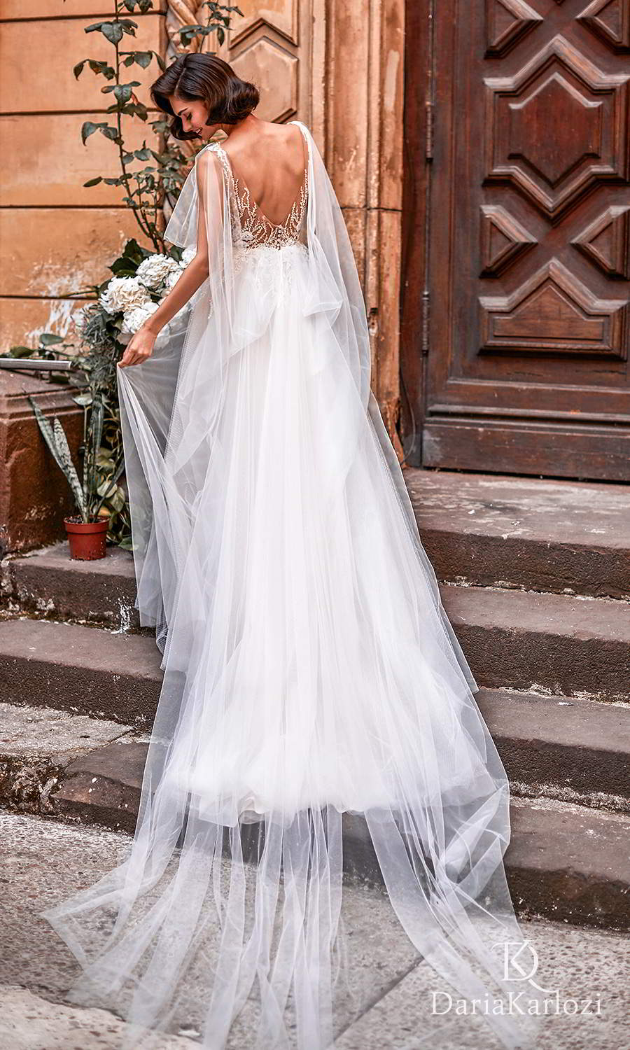 daria karlozi 2021 graceful dream bridal sleeveless straps plunging v neckline heavily embellished bodice a line ball gown wedding dress sweep train v back (euphoria) bv