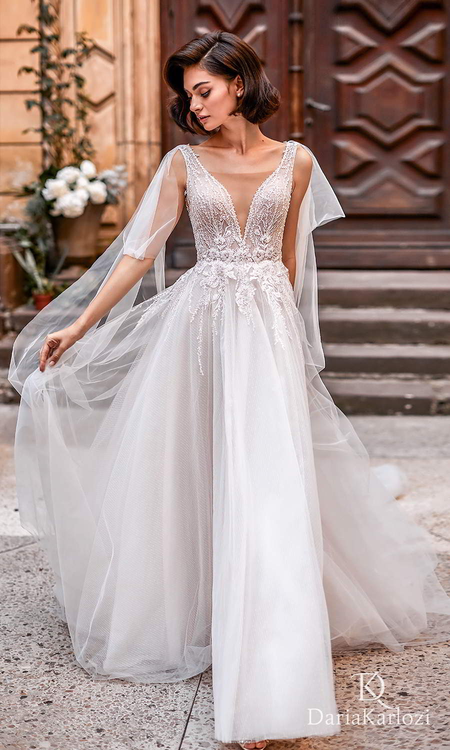 daria karlozi 2021 graceful dream bridal sleeveless straps plunging v neckline heavily embellished bodice a line ball gown wedding dress sweep train v back (euphoria) mv
