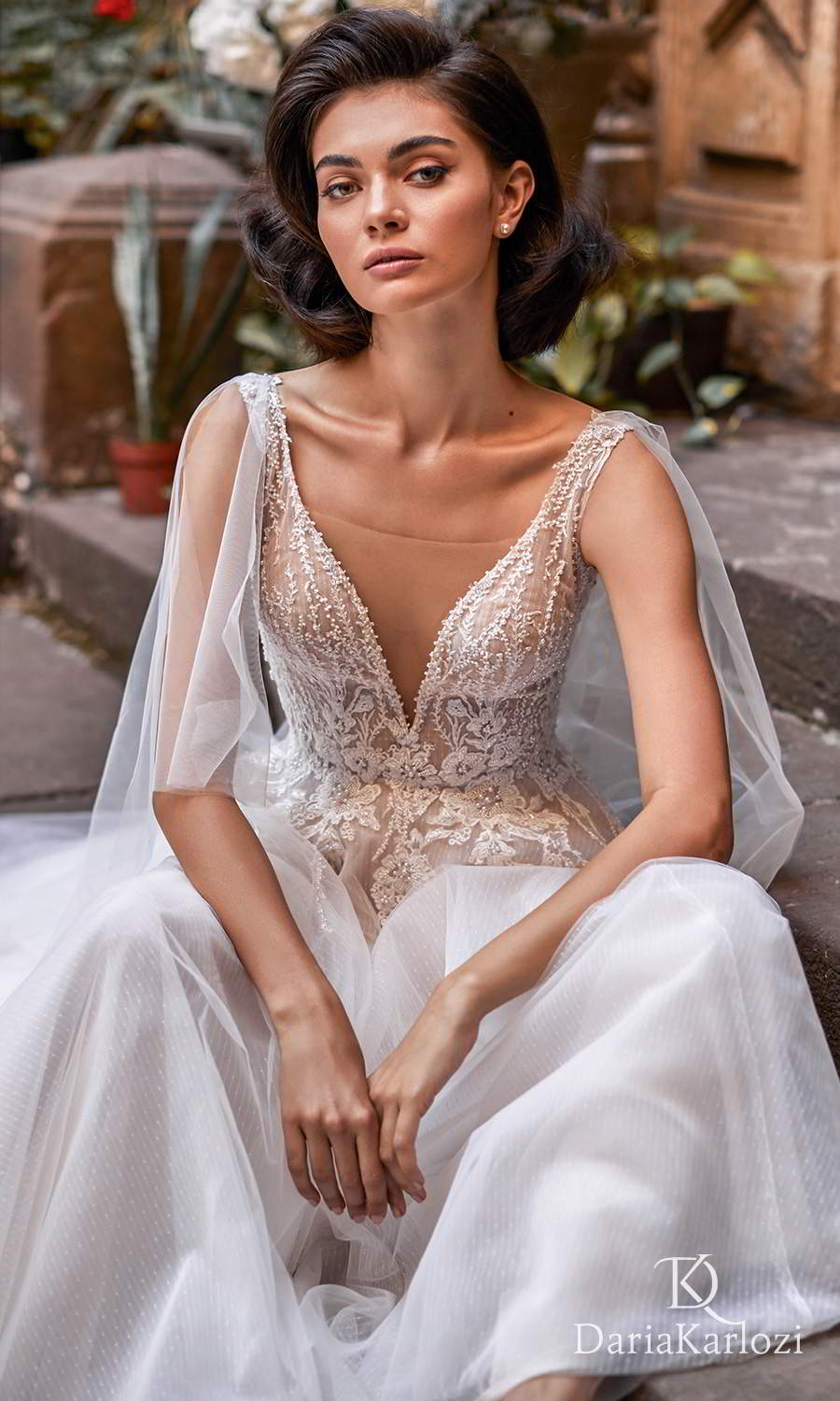daria karlozi 2021 graceful dream bridal sleeveless straps plunging v neckline heavily embellished bodice a line ball gown wedding dress sweep train v back (euphoria) zv