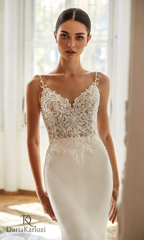 daria karlozi 2021 graceful dream bridal sleeveless straps sweetheart neckline heavily embellished bodice clean skirt sheath wedding dress lace chapel train (dancing beauty) zv