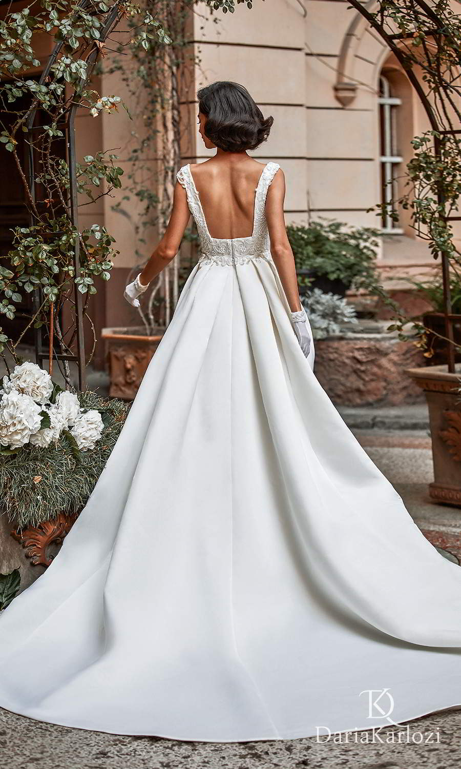 daria karlozi 2021 graceful dream bridal sleeveless thick straps square neckline heavily embellished bodice clean skirt a line ball gown wedding dress chapel train (first love) bv